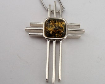 Art 925 Sterling Silver Amber Cross, Green Amber, Baltic Amber Pendant , Free shipping, Ready to ship