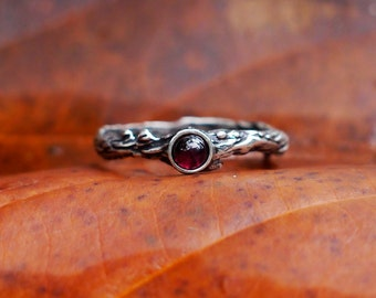 "Sterling Silver Garnet Ring ""Dew"" READY TO SHIP, garnet engagement ring, delicate ring, tiny stone ring, twig ring, stacking ring"