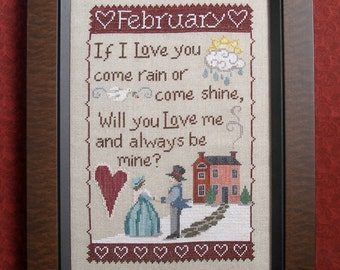 FEBRUARY SAMPLER, Downloadable pattern for counted cross stitch; PDF; Valentines; Love
