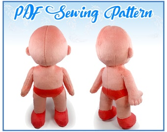 "12"" Humanoid Plush PDF Sewing Pattern (Intermediate)"
