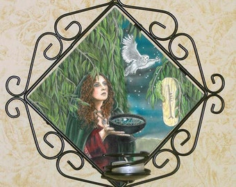 Willow Priestess Witchy Wall Candle Sconce