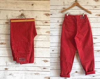 90's Vintage High Waist Unionbay Jeans, Vintage High Waisted Red Unionbay Jeans Size 27 x 29