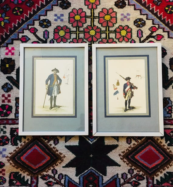 Pair of Professionally Framed Soldier Etchings - Framed _ Matted German Prints - Little Boy's or Baby Boy Nursery Decor