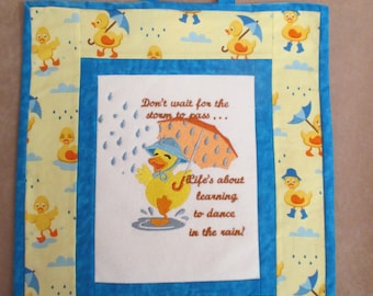 wall hanging, ready to hang, duck, machine embroidery, laundry room, bath room,home decor, wall decor, quilting,