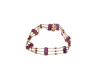 Antique Victorian Choker Necklace - Gf Amethyst Paste (#4500)