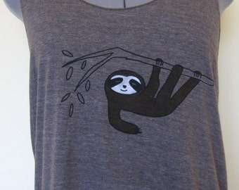 Sloth Tank Top Racer Back Women in Tricoffee