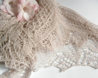 Wedding Lace Shawl Hand knit shawl Knitted Bridal Wrap Triangular shawl Cashmere shawl Wedding wrap Openwork shawl Ivory wedding shawl Wrap