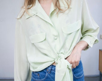 vintage pure silk mint green blouse top shirt 90's 80's minimal 90 80