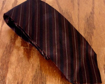 "vtg 50s 60s Rockabilly Brown/Black Stripe Silk Skinny Tie Necktie 54"" 2"""