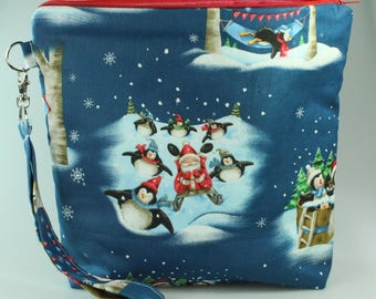 Holiday Fun Zip Bag /Pouch With Wrist Strap