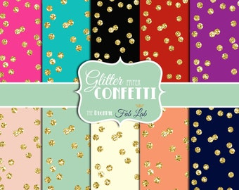 Gold Confetti Paper, Sparkling,Glitter, Digital Paper, 12x12, Scrapbook, Instand Download