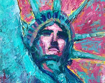 "Statue of Liberty original painting 18""x20"" on canvas board"