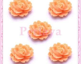 Set of 5 flower 18mm orange peach REF1138 cabochons
