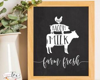 Farm Fresh Sign, Farmhouse Decor, Farmhouse Printables, Rustic Home Decor, Rustic Farmhouse Decor, Farmhouse Sign, Farm Fresh Print