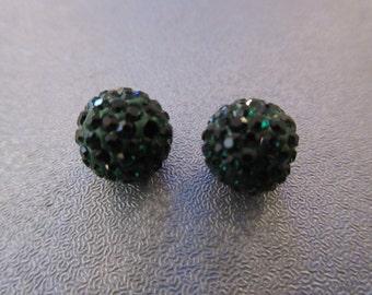 Green Pave Rhinestone Disco Round Spacer Beads 2pcs