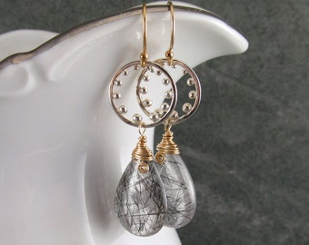 Tourmalinated quartz earrings, handmade sterling silver, gold fill mixed metal earrings-OOAK