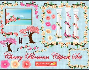 Instant Download - Cherry Blossoms Clipart Set (300dpi PNG Files)