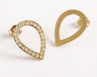 Diamond drop earrings, fine gold drop earrings, Diamond bridal earrings, Pave diamond earrings, Genuine diamond earrings