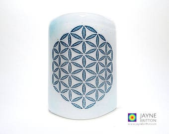 Flower of Life Sconce, mini light and candle screen, blue and white blend, sacred geometry, meditation, kiln fused glass