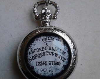 Ouija inspired pocket watch necklace