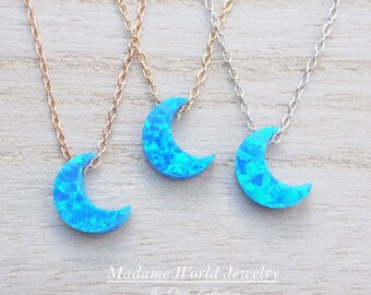 Blue opal jewelry etsy more colors reconstitute blue opal crescent moon necklace mozeypictures Gallery