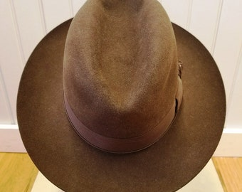 Vintage Chocolate Brown Fur Felt Fedora, Scala Collection with Wind Trolley, ca 1960s