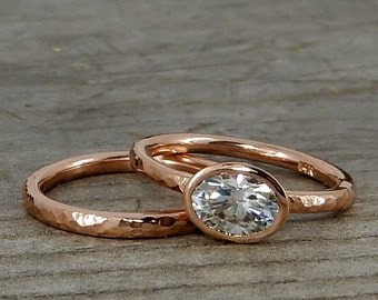 Moissanite Wedding Ring Set - Forever One G-H-I Moissanite and Recycled 14k Rose Gold, Made to Order - Eco-Friendly Diamond Alternative