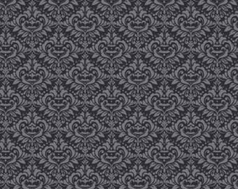 Eek Boo Shriek Damask Black Halloween Fabric from Riley Blake, C6013  Black,  Sold By 1/2 Yard