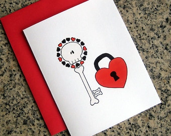 skeleton key to my heart notecards / thank you notes / love notes / valentines (blank or custom inside) with red envelopes - set of 10