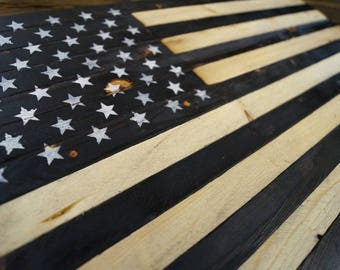"Rustic Wooden American Flag USA Small 13.25""x24"" Charred Burned Burnt Primitive"