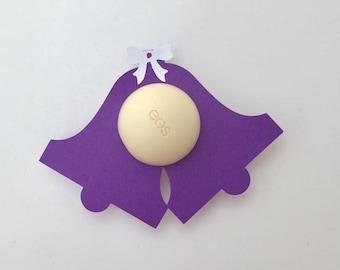 12 EOS bridal shower lip balm holders purple,EOS wedding shower favor,EOS wedding shower,lip balm holder,wedding bells,shower supply