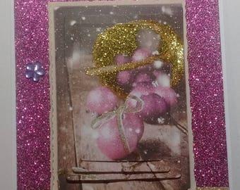 Card good year pink Christmas balls; 3D