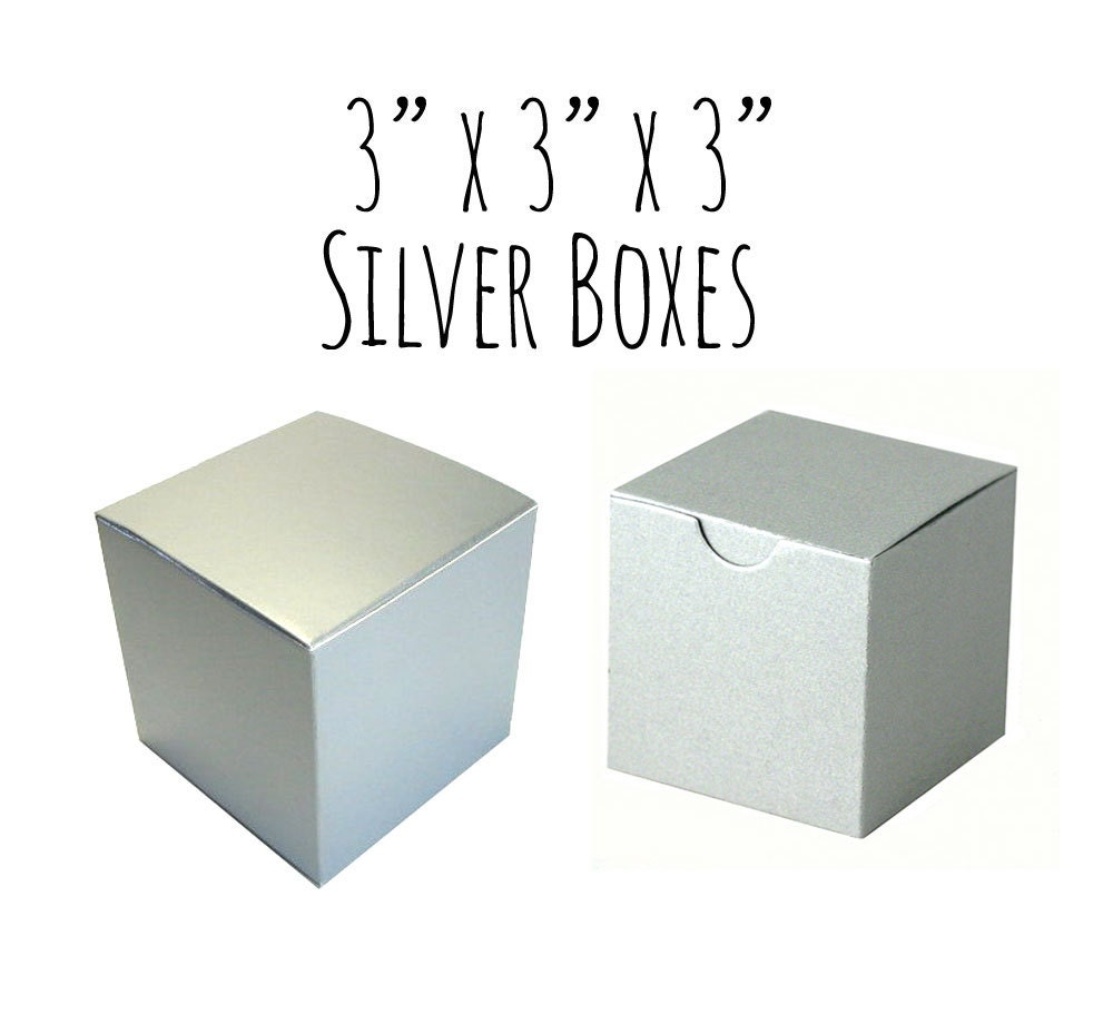 Silver Boxes 3 x 3 x 3 Square 25 To 50 Wedding Favor
