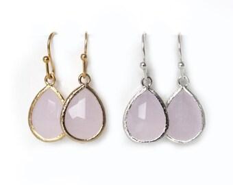 Pink glass earrings. Drop dangle earrings. Pink teardrop earrings. Ice pink earrings. Gold earrings. Weddings earrings, bridesmaids gift