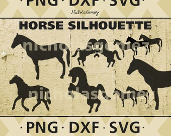 Horse silhouette clipart - DIGITAL DOWNLOAD - png files - dxf files - svg files -cut files - scrapbooking - stencil - stencils art