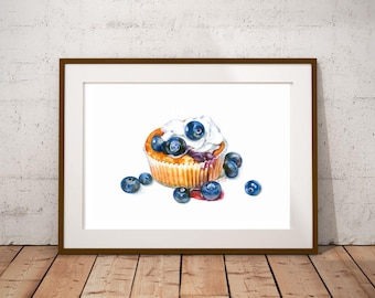 Blueberry Cupcake with Cream Fruit dessert Still Life Print Watercolor Painting Fine Art Food Art Home Decor Kitchen art Illustration