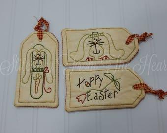 Easter Home Decor - Happy Easter Hang Tags - Primitive Easter Decor - Prim Rabbit - Prim Bunny - Red Tulip - Orange Carrot