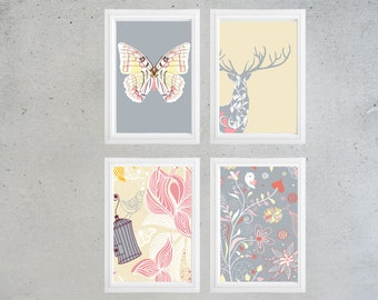 Baby Nursery Art Prints -Set of (4) - 8x10 Prints -Baby Pink Blue Cream and White