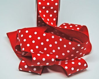 Dotted Grosgrain Ribbon -- 1.5 inches -- Bright Red with White Dots