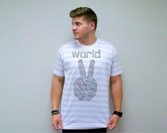 Inspirational, World Peace TShirt, inspirational shirt, graphic tee, peace, mens t-shirts, wabi sabi art, Peace sign shirt, American Apparel