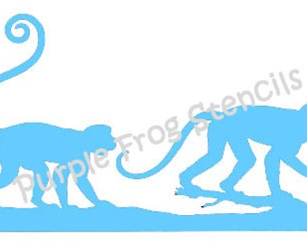 Monkeys STENCIL (Reusable) Different Sizes Available, Zoo, Animals