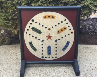 Aggravation, Frustration, Game Board, Wood, Wooden, Game Boards, Hand Painted, Folk Art, Primitive, 3 Player, Aggravation Board