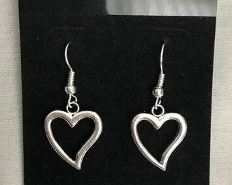 Silver Heart Shaped Dangle Drop Earrings