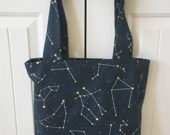 Constellation Tote Bag - Navy Canvas Constellation Tote - Handmade Tote - Farmer's Market Bag - Reusable Shopping Bag - Beach Bag