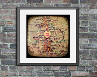 Map art print - miss you Salt Lake City Utah - candy heart photo print custom going away graduation gift dorm wall decor