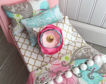 Bird and paisley doll bedding, 18 inch doll bedding, pink and mint doll bedding, Doll bedding, doll bed, girl Christmas gift, wood doll bed
