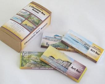 Chocolate Box of 4x40g Bars, Set 1 Chocol'Art designs