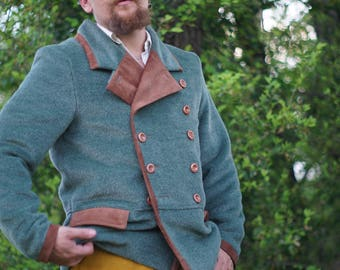 Alpaca and Leather Reefer Jackets