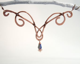 Fairy Swirl Copper Forged Necklace, Purple Crystal
