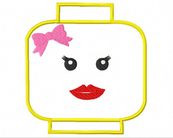 Well Hello Lady Lego Head APPLIQUE Machine Embroidery